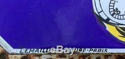 Ancienne Plaque Émaillée Montre UNIC 1920 HORLOGERIE BERNIER