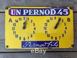 Ancienne Plaque Émaillée Pernod Fils Compteur Pétanque 1940 / Absinthe