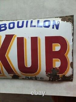 Ancienne Plaque Emaillée Pub BOUILLON KUB bombée