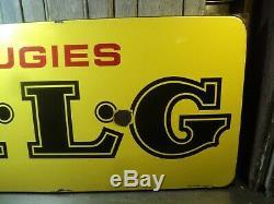 Ancienne Plaque Émaillée Publicitaire Bougies KLG Collection Garage Automobile