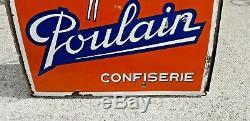 Ancienne Plaque Émaillée Publicitaire Chocolat Poulain Confiserie vers 1940