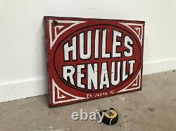Ancienne Plaque Emaillee Renault Huiles Enamel Sign Emailschild Porcelain