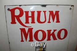 Ancienne Plaque Emaillee Rhum Moko Bordeaux Émaillerie Alsacienne Rare