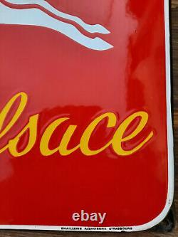 Ancienne Plaque Emaillée SCHUTZ BIERE D'ALSACE E A S 48x69cm années 45/50