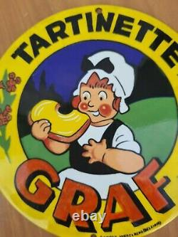 Ancienne Plaque Emaillee Tartinette Graf Email Koekelberg Publicitaire