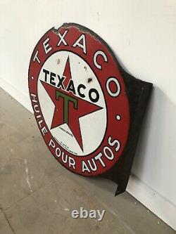 Ancienne Plaque Emaillee Texaco Enamel Sign Emailschild Insegna Emaille Bord