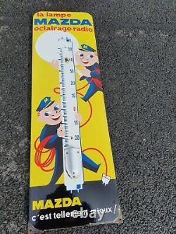 Ancienne Plaque Émaillée Thermomètre MAZDA enamel sign vintage France pub