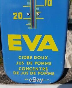 Ancienne Plaque Emaillee Tole Peinte Thermometre Serigraphie Jean Even Pub Eva