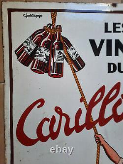 Ancienne Plaque Emaillée double face LES VINS DU CARILLON par Charles Margan