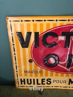 Ancienne Plaque En Tole Non Emaillee No Enamel Sign Publicitaire Huile Victory