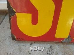 Ancienne Plaque Tole Emaillee Huile Shell Double Face Garage