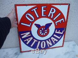 Ancienne Plaque Tole Emaillee Loterie Nationale Double Face. E. A. S