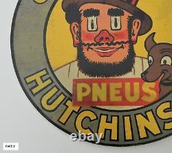 Ancienne Plaque Tôle HUTCHINSON double face Mich Rémouleur No émaillée