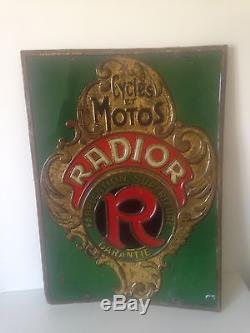 Ancienne Plaque Tôle Radior Cycles Motos Double Face Emboutie