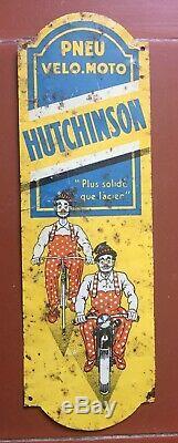 Ancienne Plaque de Propreté Tôle PNEU Velo Moto HUTCHINSON Mich 6.5x20.5cm