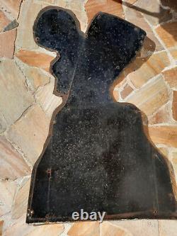Ancienne Plaque émaillée BIERE DU PECHEUR ALSACE tôle émaillée découpe 98x145cm