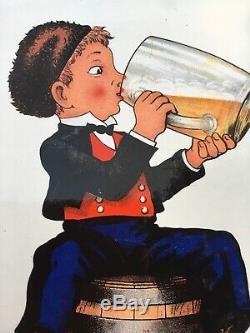 Ancienne Plaque émaillée Bière Du Pêcheur Fischer Gold Alsace 1950 Eas Bistro