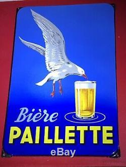 Ancienne Plaque émaillée Bière Paillette Mouette Bord De Mer Signé Mallet EAS