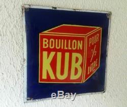 Ancienne Plaque émaillée Bombée BOUILLON KUB Cuisine 20x20cm 1936