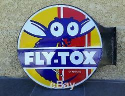 Ancienne Plaque émaillée Double Face FLY -TOX
