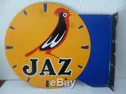 Ancienne Plaque émaillée JAZ horlogerie fabrication EAS