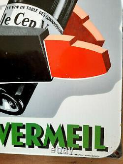 Ancienne Plaque émaillée LE CEP VERMEIL Le vin des connaisseurs E A S 39x58cm