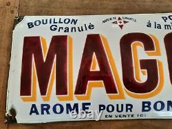 Ancienne Plaque émaillée MAGGI AROME POUR BONIFIER BOUILLON POTAGE 24x49cm