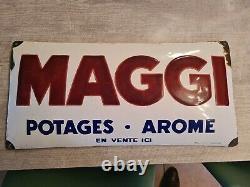 Ancienne Plaque émaillée Maggi EAS 1930 AROME POTAGES