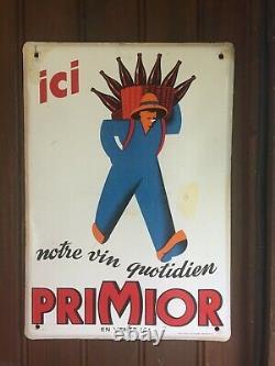 Ancienne Plaque émaillée PRIMIOR NOTRE VIN QUOTIDIEN 25x35cm EAS