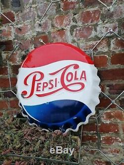 Ancienne Plaque emaillee Pepsi-Cola capsule publicitaire Vintage Vitracier