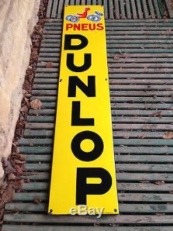 Ancienne Plaque émaillée Pub PNEU DUNLOP Savignac Email Alsacienne Strasbourg