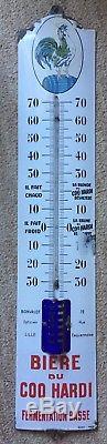 Ancienne Plaque émaillée Thermomètre BIERE DU COQ HARDI 19x99cm