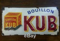Ancienne Plaque émaillée bombée BOUILLON KUB Cuisine 24x49cm