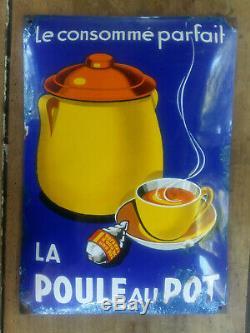 Ancienne Plaque émaillée bombée LA POULE AU POT le consommé parfait 29x41cm