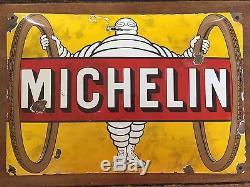 Ancienne Plaque émaillée bombée MICHELIN Pneus Garage Bibendum Cigare 30x44cm