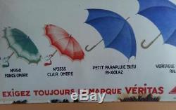 Ancienne Plaque émaillée bombée OMBRELLES DE LUXE ET PARAPLUIES VERITAS 33x55cm
