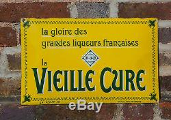 Ancienne Plaque émaillée bombée Vieille Cure Liqueurs 40 cm x 25 cm