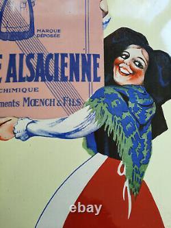 Ancienne Plaque émaillée cuisine ALSA Levure Alsacienne EAS années 30 29x50cm