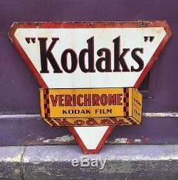 Ancienne Plaque émaillée double face KODAKS KODAK Verichrome Kodak Film Photo
