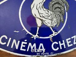 Ancienne Plaque émaillée double face PATHE BABY Cinéma Film Coq 37x54cm 30's