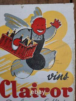Ancienne Plaque émaillée double face VINS CLAIROR EAS Cuisine Bistrot 28x33cm