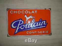 Ancienne Plaque émaillée originale, EASH, CHOCOLAT POULAIN CONFISERIE 1950