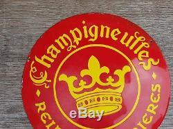 Ancienne Plaque émaillée ronde & Bombé Champigneulles Reine des bières