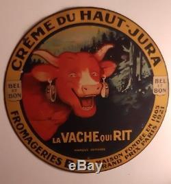 Ancienne Plaque en tôle La Vache qui Rit Non émaillée 28 cm très rare