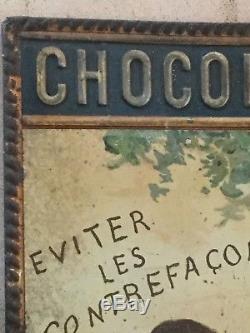 Ancienne Plaque en tôle estampée et imprimée Chocolat Menier
