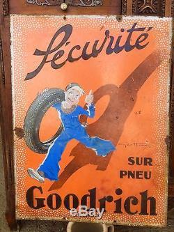 Ancienne Plaque Émaillée Double Face Goodrich a restaurer No Copie
