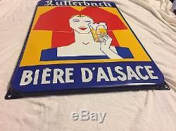Ancienne Plaque Émaillée LUTTERBACH Bière D'Alsace Alsacienne Pub Déco
