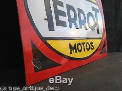 Ancienne Plaque émaillée Moto Cycles Terrot Dijon 1950 RARE! TBE! EAS