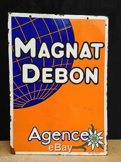 Ancienne Plaque émaillée Moto Magnat Debon Agence 1930 RARE! TTBE! EAS