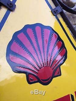 Ancienne Plaque Émaillée Shell, complète, Très Bon État, huile Garage, Esso, Antar, Bp
